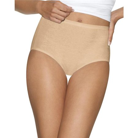 90563900190 Ultimate Comfort Cotton Womens Brief Panties, Nude Dot Plus White - Size 9 - Pack of 5 - Plus Size Nude Women