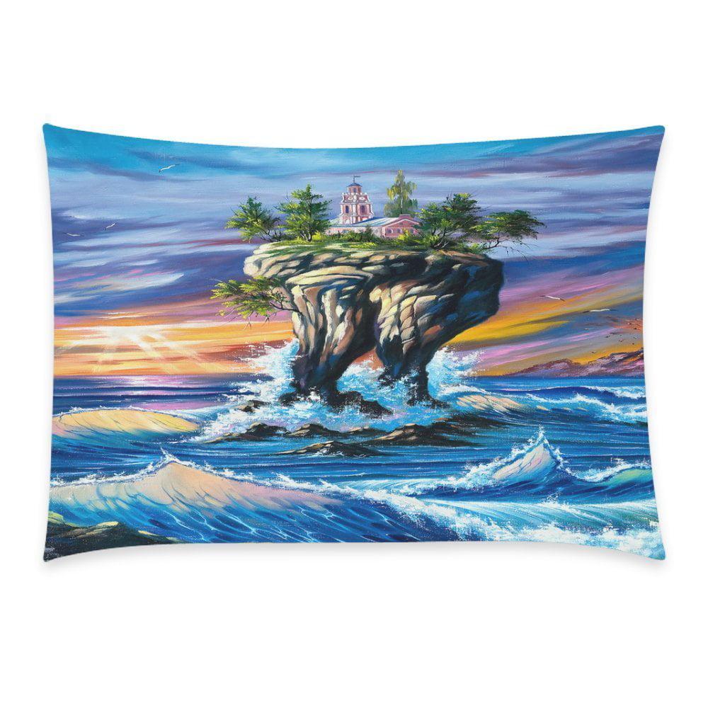 ZKGK Home Bathroom Decor Sunset Art Sea Ocean Pillowcases Decorative Pillow Cover Case... by ZKGK