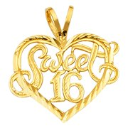 Sweet 16 Birthday Script Font Charm Diamond Cut Polish 14k Yellow Solid Gold Heart Pendant Necklace Fine Jewelry Gift Idea