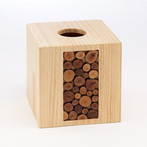 Avanti Linens Lemala Wood Tissue Cover, Earthtones