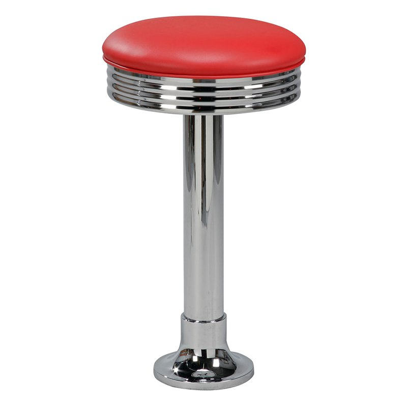 Regal Retro Cafe Bolt Down 26 in. Metal Counter Stool with Upholstered Seat