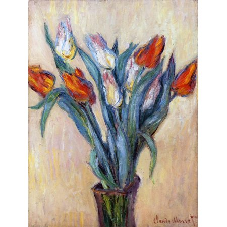 Tulips, 1885 Red Flowers Print Wall Art By Claude Monet