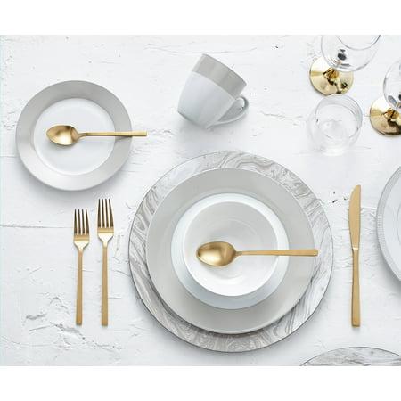 Safdie & Co. 16-Piece Round Rim Dinnerware Set, Taupe, Band (Dinnerware Narrow Rim)