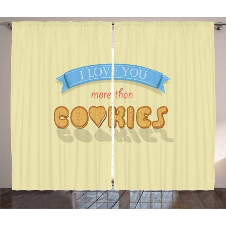 I Love You More Curtains 2 Panels Set, More Than Cookies Sweet Vanilla Cookies Font with Letter O is as Heart, Window Drapes for Living Room Bedroom, 108W X 90L - Personalized Love Heart Sweets