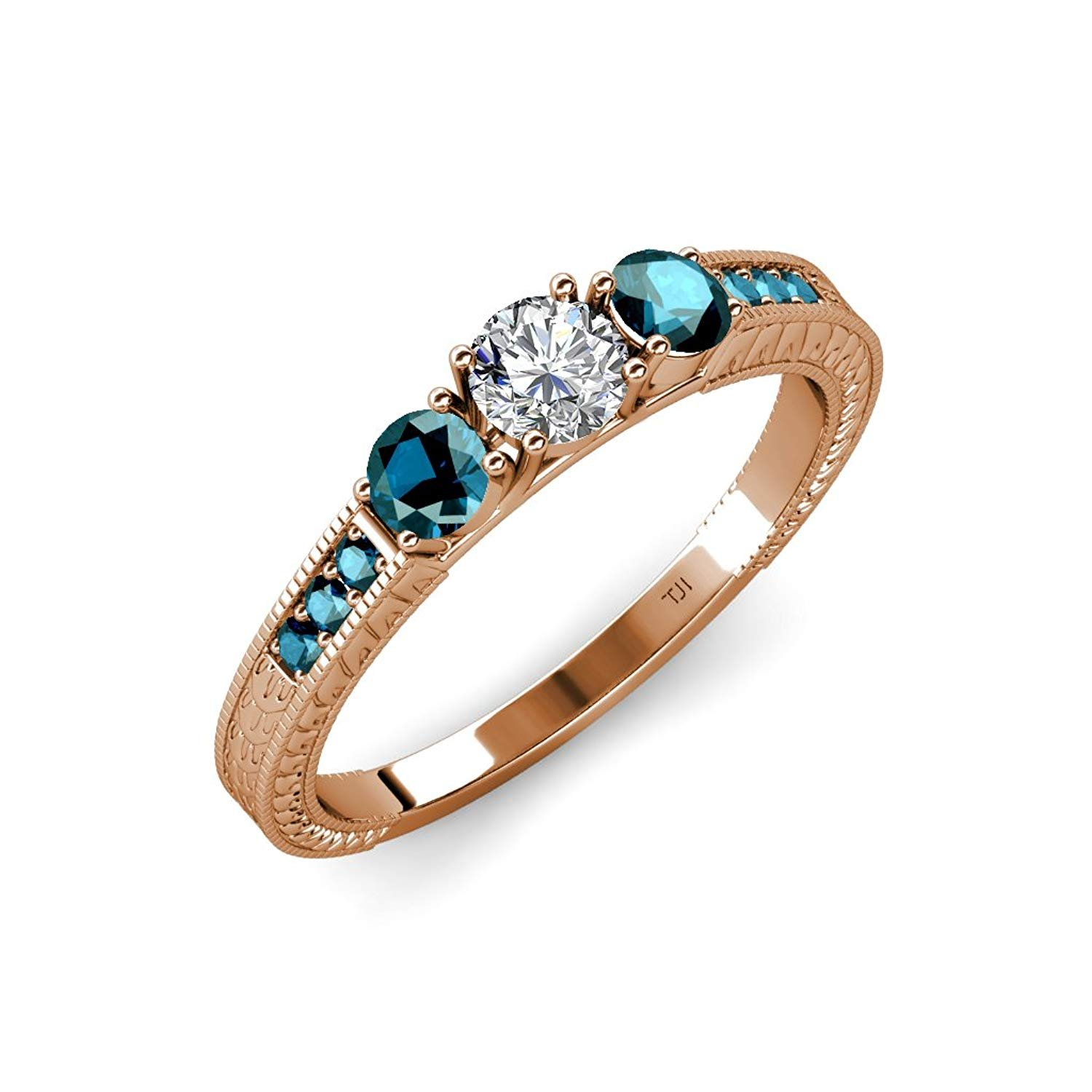 Blue and White Diamond 3 Stone Ring with Blue Diamond on Side Bar 0.84 ct tw in 14K Rose Gold.size 6.5 by TriJewels