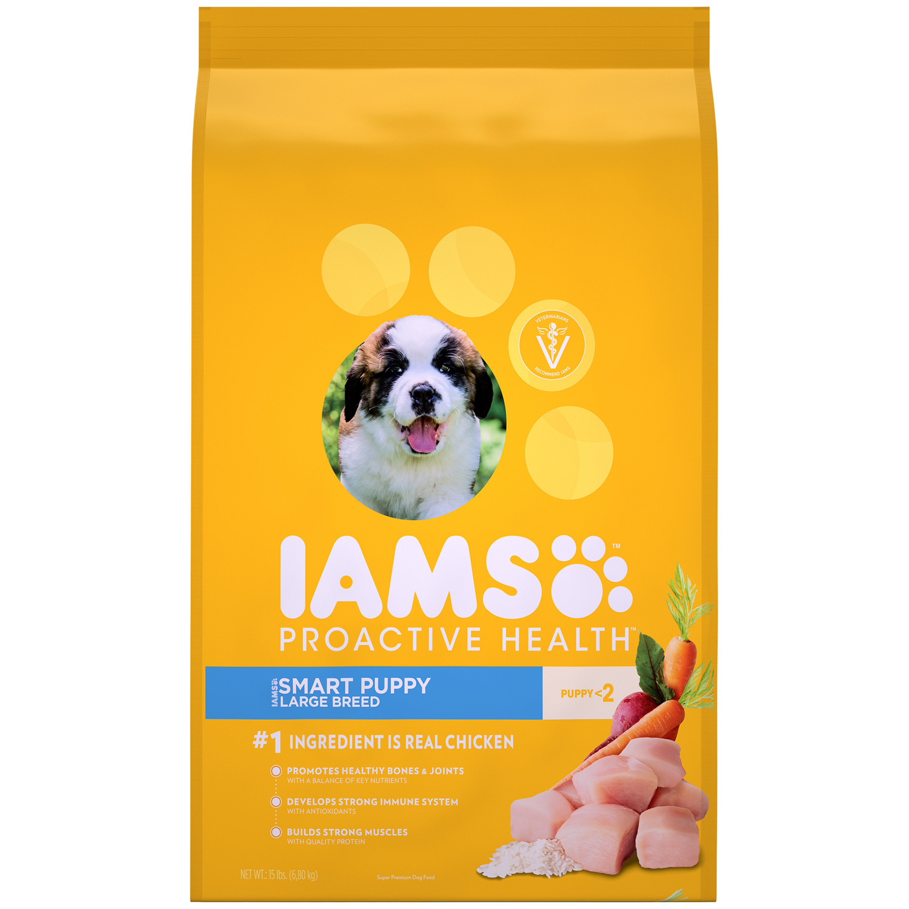 IAMS ProActive Health Smart Puppy Dog Food for Large Dogs – Chicken, 15 Pound Bag
