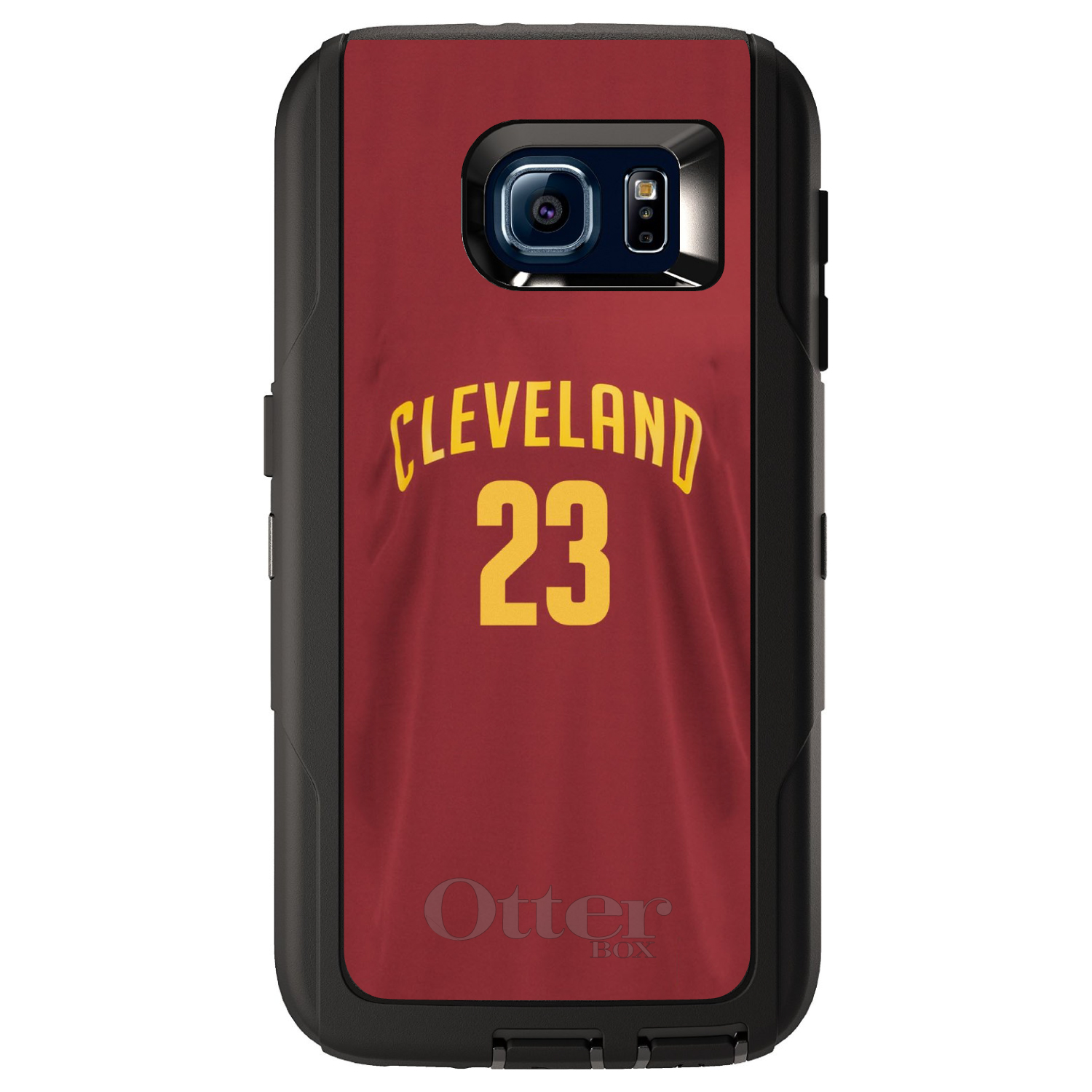 CUSTOM Black OtterBox Defender Series Case for Samsung Galaxy S6 - Cleveland 23 Jersey