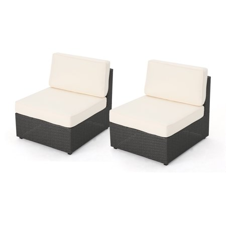 Sabrina Outdoor Grey Wicker Armless Sectional Sofa Seat With Water Resistant Cushions Set Of 2