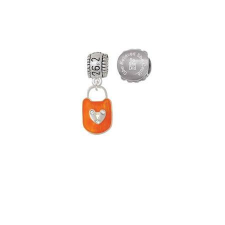 Hot Orange Enamel Lock with Clear Crystals 26.2 Marathon Run She Believed She Could Charm Beads (Set of 2) - Hot Orange Enamel