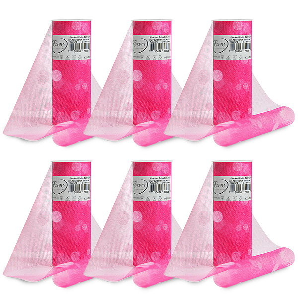 """Expo Int'l Pack of 6 Polka Dot Flocked 6"""" Tulle Spool of 10 Yards"""