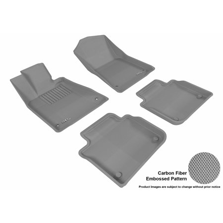 3D MAXpider 2013-2016 Lexus GS350 Front & Second Row Set All Weather Floor Liners in Gray with Carbon Fiber Look