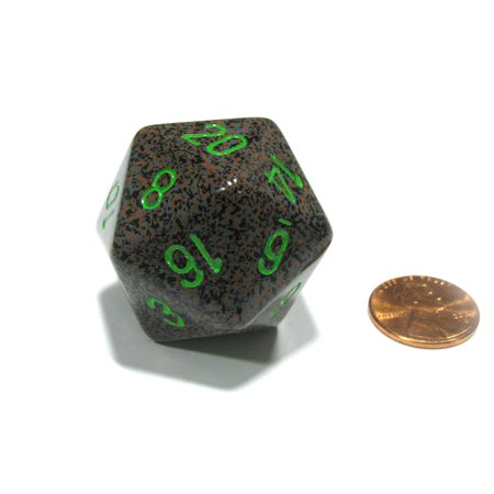 Chessex 34mm Large 20-Sided D20 Speckled Dice, 1 Die - Earth #XS2022