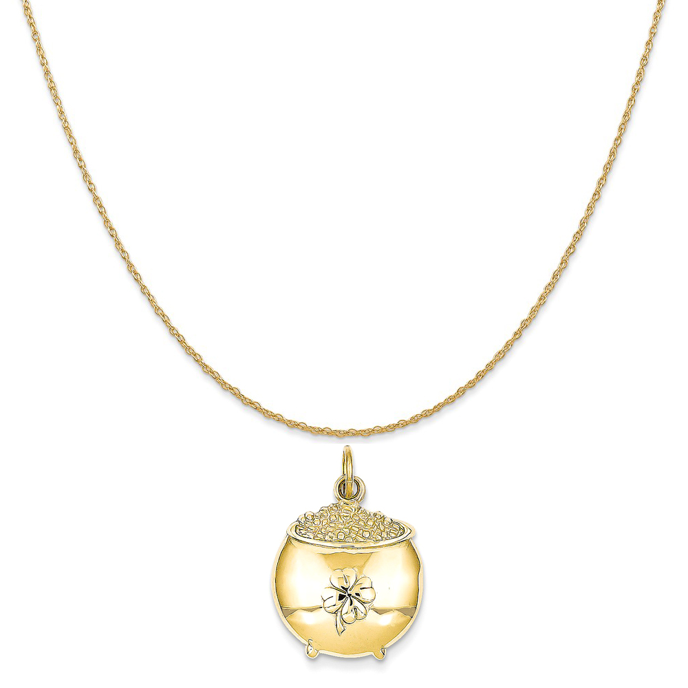 """14k Yellow Gold Pot Of Gold Charm on a 14K Yellow Gold Rope Chain Necklace, 18"""""""