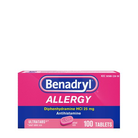 Benadryl Ultratabs Antihistamine Allergy Medicine Tablets, 100 Ct