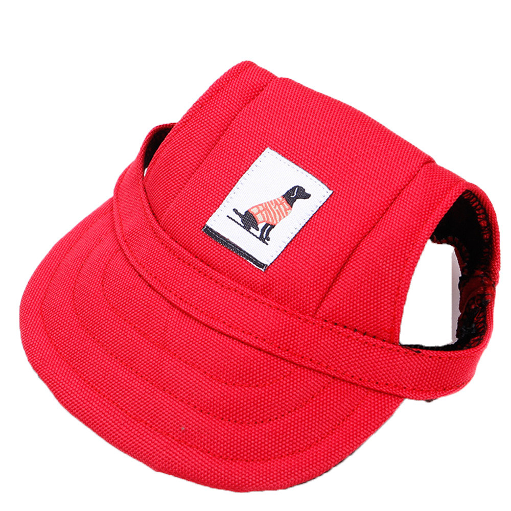 WINOMO Pet Hat Baseball Cap with Ear Holes for Small Dogs Red White
