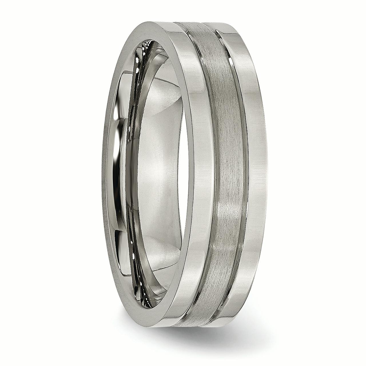 Titanium Grooved 6mm Brushed Wedding Ring Band Size 11.50 Fashion Jewelry Gifts For Women For Her - image 3 de 6