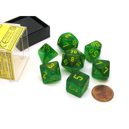 Polyhedral 7-Die Borealis Chessex Dice Set - Maple Green with Yellow Numbers - Green Fuzzy Dice