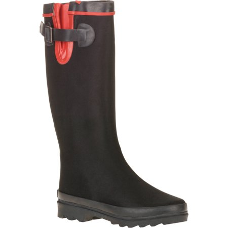 Forever Young Women's Scuba Water Resistant Fabric Couture Tall Rain Boot