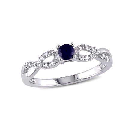 (Tangelo 1/5 Carat T.G.W. Created Blue Sapphire and Diamond-Accent Sterling Silver Cross-Over Promise Ring)