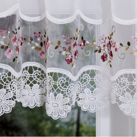 - Vintage embroidered rose kitchen curtain swag
