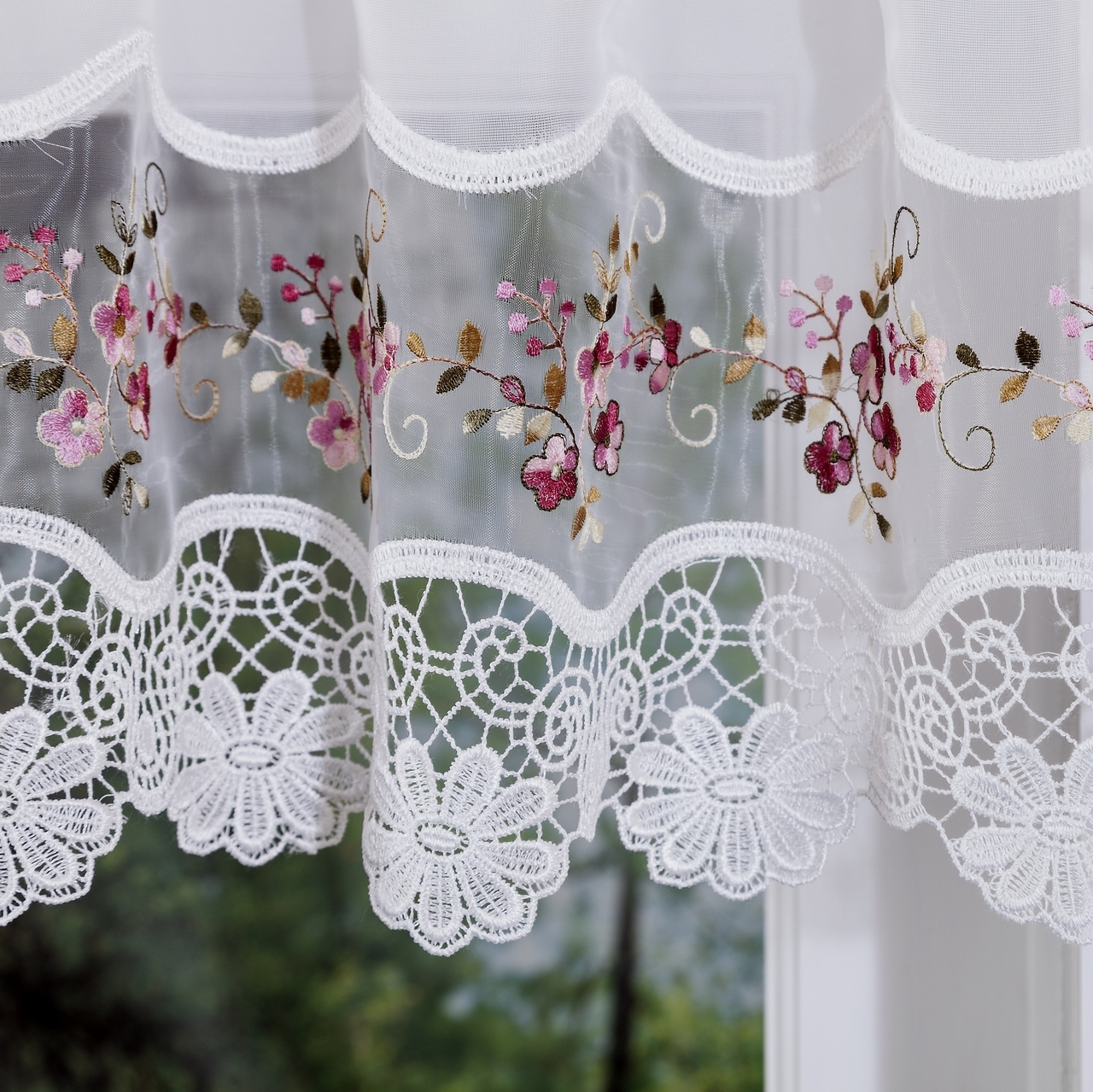 Vintage embroidered rose kitchen curtain swag