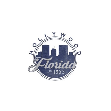 Hollywood, Florida - Skyline Seal (Blue) Print Wall Art By Lantern Press