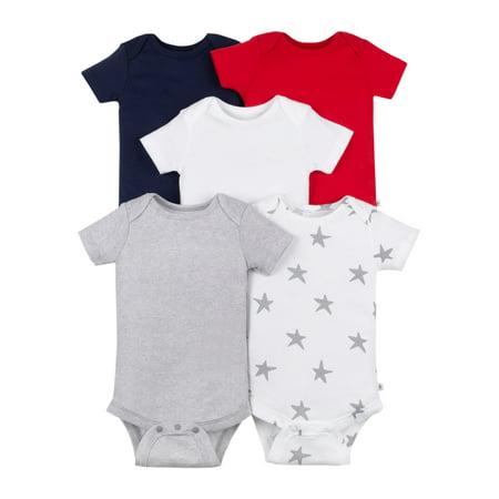 Little Star Organic Baby Boy or Girl Short Sleeve Pure Organic True Brights Bodysuits, 5-pack Baby Boy Natural