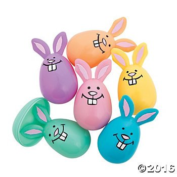 Easter Pastel - Plastic Pastel Bunny Easter Eggs - 12 ct