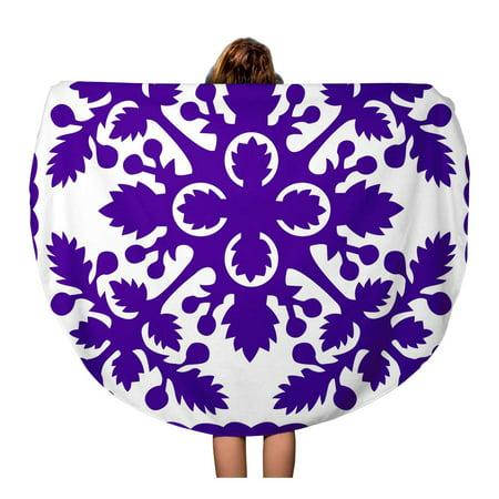 KDAGR 60 inch Round Beach Towel Blanket Pattern Retro Tropical Purple Hawaiian Quilt Hawaii Vintage Breadfruit Travel Circle Circular Towels Mat Tapestry Beach Throw