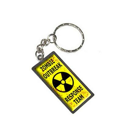 Zombie Outbreak Response Team - Distressed Radiation Metal Rectangle Keychain ()