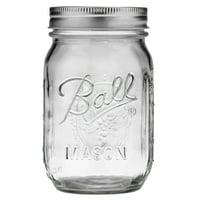 12-CT Ball Glass Mason Jar w/Lid and Band Regular Mouth 16oz