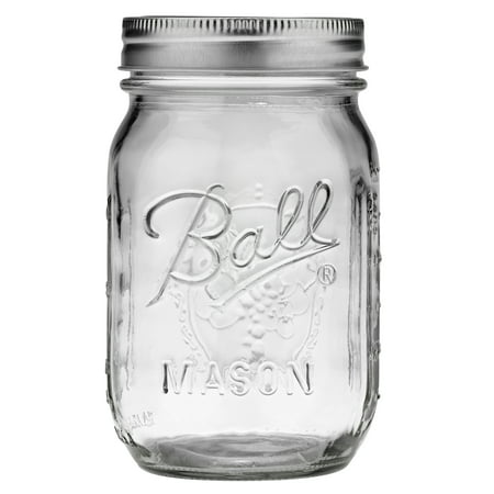 Tiny Mason Jars (Ball Glass Mason Jar w/Lid & Band, Regular Mouth, 16 Ounces, 12)