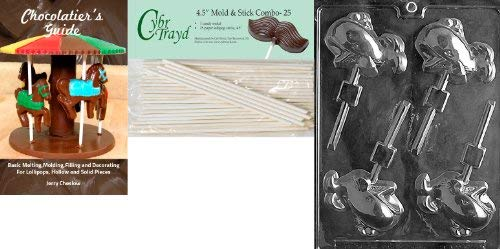 Cybrtrayd Whale Lolly Nautical Chocolate Candy Mold with 25 4.5-Inch Lollipop Sticks and Chocolatiers Guide