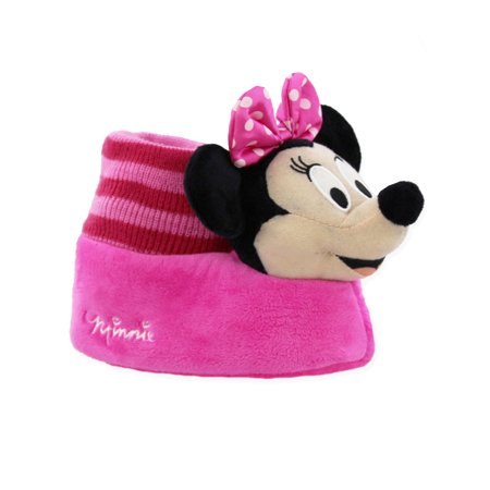 Disney Minnie Mouse Toddler Girls Plush 3D Minnie Head Sock Top Slippers (Disney Character Slippers)