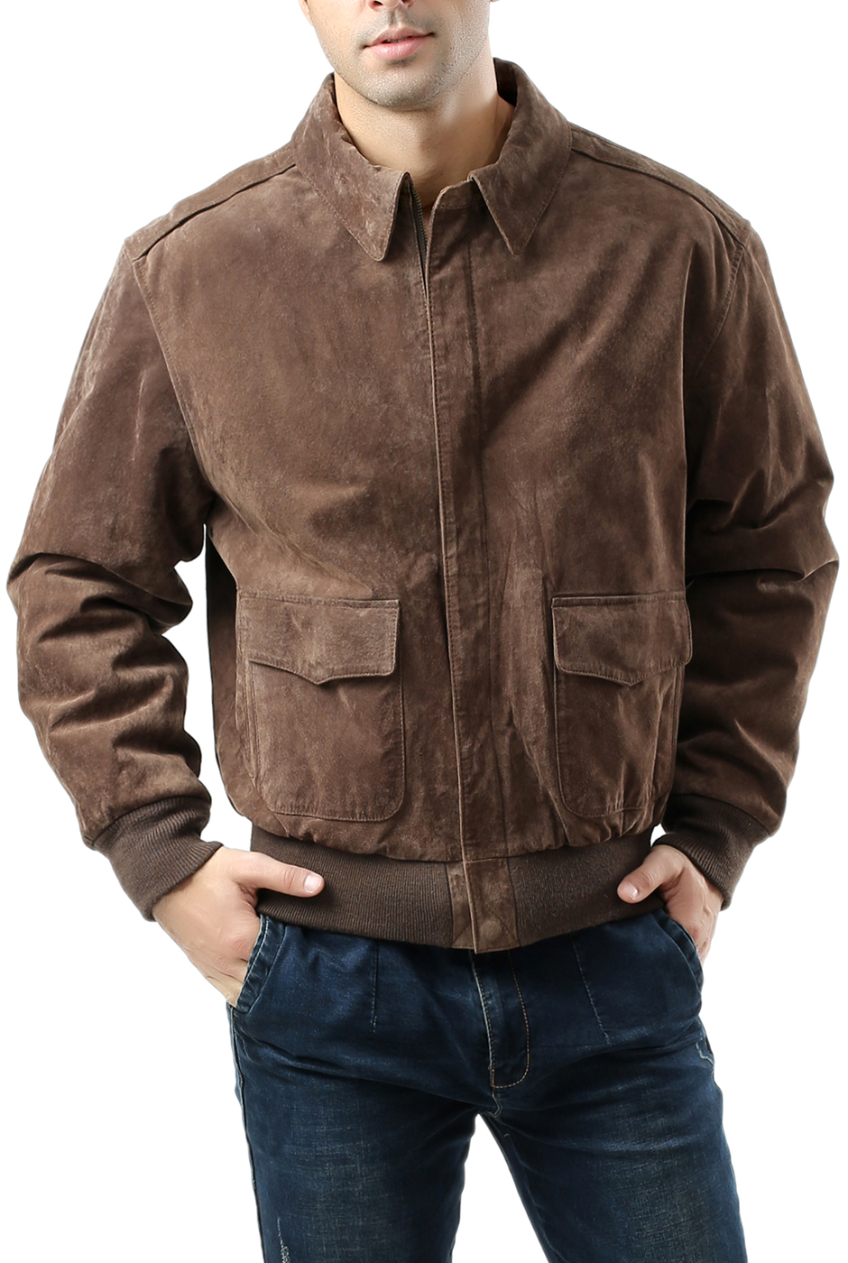 Regular and Big /& Tall Landing Leathers Mens Air Force A-2 Suede Leather Flight Jacket