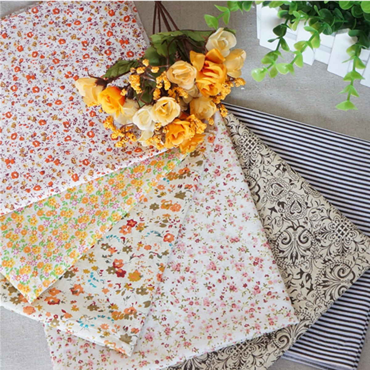 16Pcs Cotton Fabric bundles Fat Eighths Polycotton Material Florals Gingham Spots Craft Cotton fabric