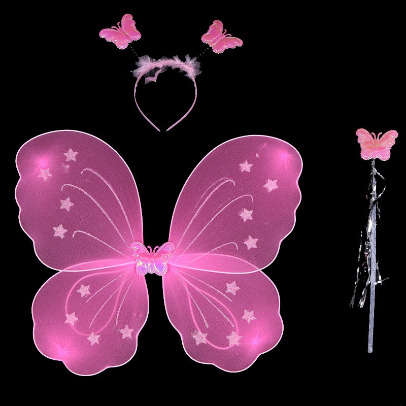 Salmope Halloween Kid Girl Butterfly Wing Wand Headband Fairy Xmas Party Costume 3Pcs/set (Pink)