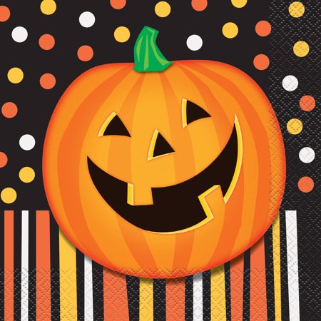 Smiling Pumpkin Halloween Paper Luncheon Napkins, 6.5 in, 16ct (Halloween Cloth Napkins)