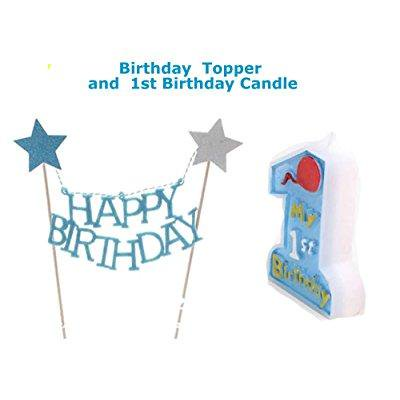 Blue 1st Birthday Boy Baby First Cake Topper And Candle