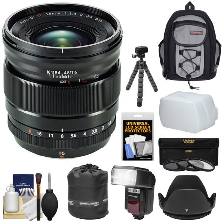 Fujifilm 16mm f/1.4 XF R WR Lens with Backpack + 3 Filters + Flash + Hood + Tripod + Kit for Fuji X-A2, X-E1, X-E2, X-M1, X-T1, X-T10, X-Pro1