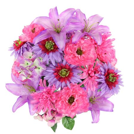 24 Stems Faux Full Blooming Ranunculus, Lily, Hydrangea Mixed Flower Bush - Orchid Mix - image 1 of 1