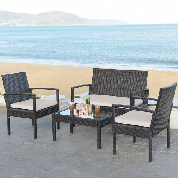 Costway 4 Pc Rattan Patio Furniture Set Garden Lawn Sofa Rattan Wicker with Beige Cushions