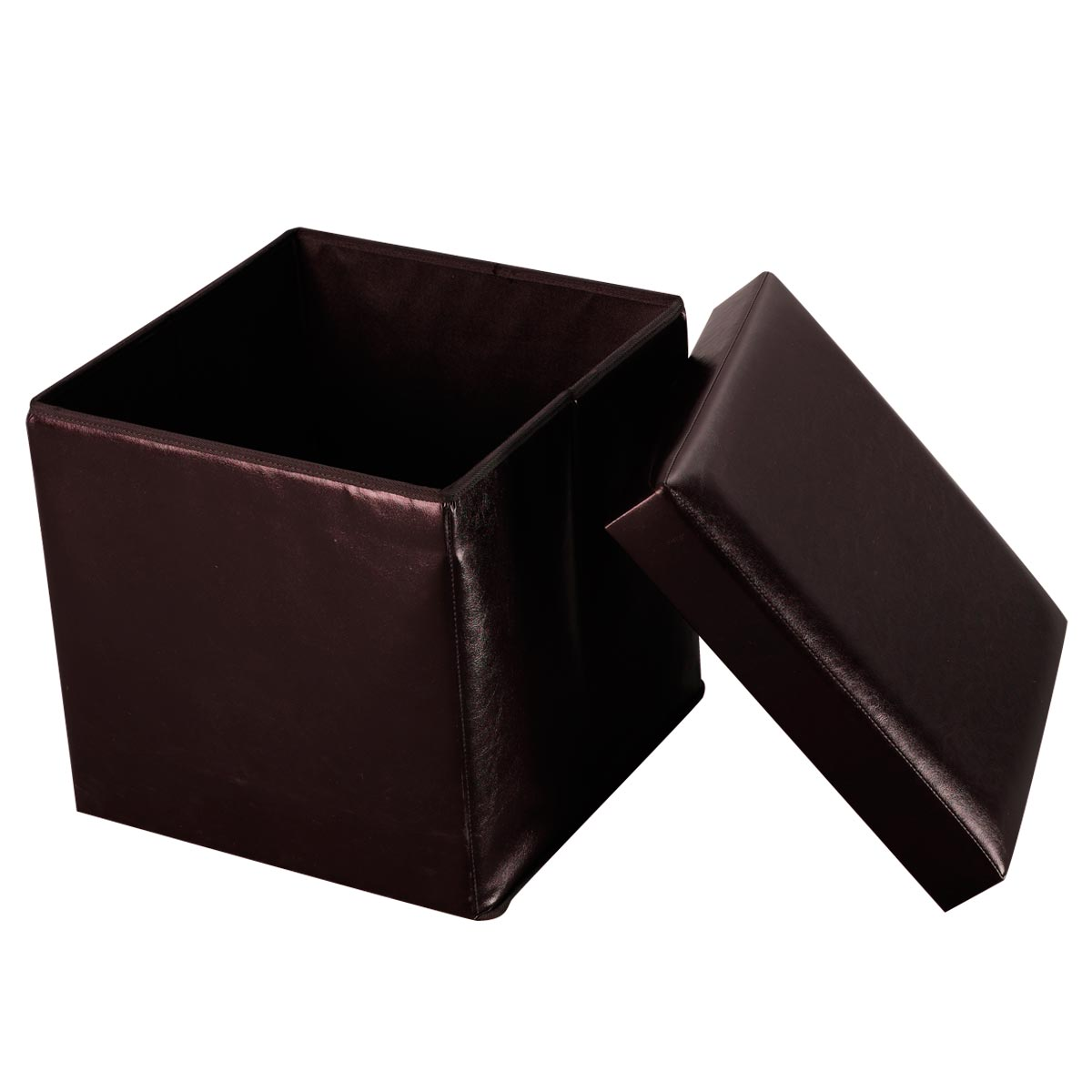 Costway Folding Faux Leather Ottoman Pouffe Storage Box Lounge Seat Footstools (Brown) by Costway