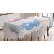 Gender Reveal Decorations Tablecloth, Babies Lie and Keep the Pacifiers Lovely Toddler Playroom, Rectangular Table Cover for Dining Room Kitchen, 52 X 70 Inches, Pink Blue Peach, by Ambesonne