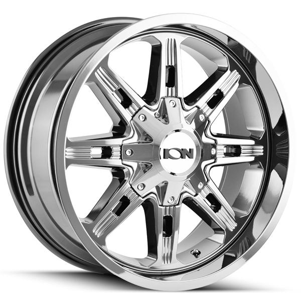 "17"" Inch Ion 184 17x9 8x165.1(8x6.5"")/8x170 -12mm PVD Chrome Wheel Rim"
