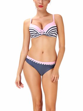 Juniors' Fashion Stripe Bikini Set Plus Size Swimsuit Padded Swimwear Bandeau Bathing Suit Four Style