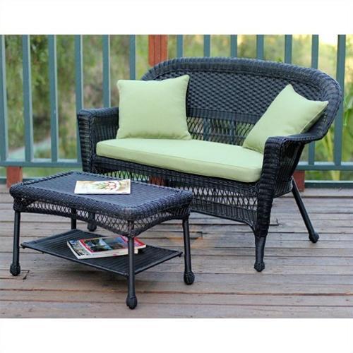 Jeco Wicker Patio Love Seat and Coffee Table Set in Black with Green Cushion