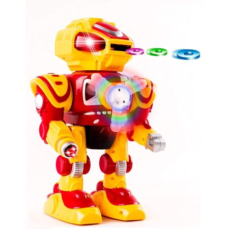 Super Android Toy Robot With Disc Shooting Walking Flashing Lights And Sound Features Great Action Toy For Kids Boys Girls Toddlers Battery Operated Yellow