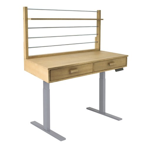 Sit to Stand Adjustable Height Potting Bench with Sand-splashed Finish and Grey Frame
