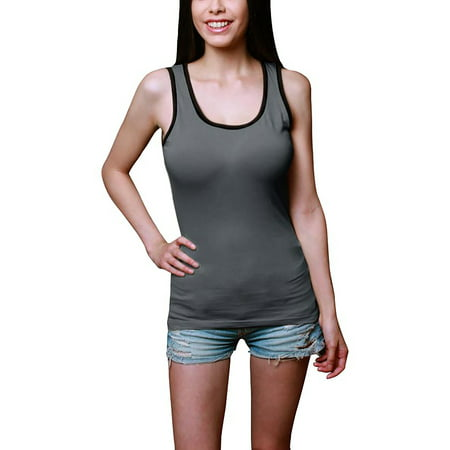 Women's Classic Soft Workout Sleeveless T-Shirts with Contrast Binding